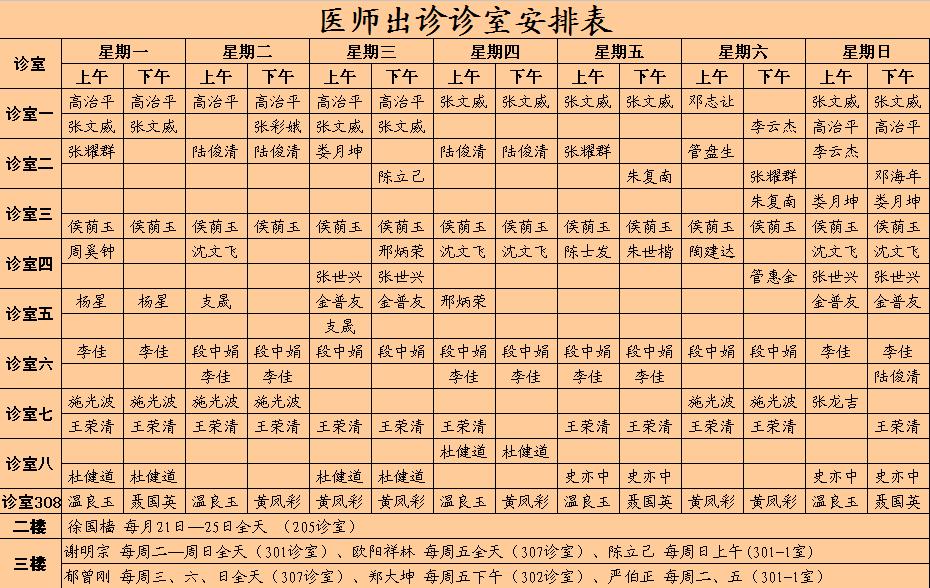 李同丰中医医院医生出诊时间